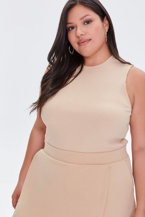 Plus Size Ribbed Cropped Tank Top, image 1