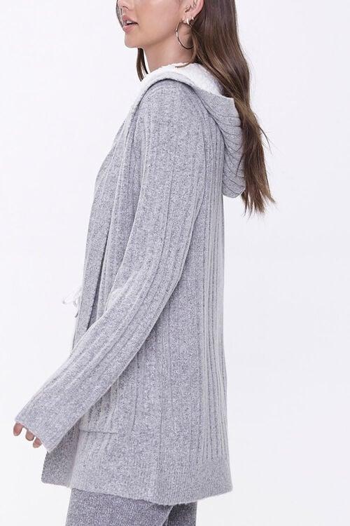 Hooded Ribbed Knit Cardigan, image 2