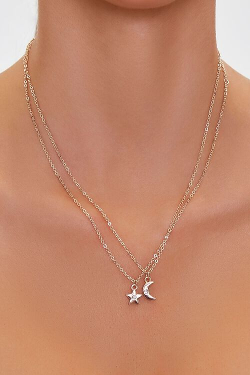 Moon & Star Charm Necklace Set, image 1