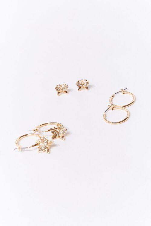 Butterfly Charm Hoop & Stud Earring Set, image 1