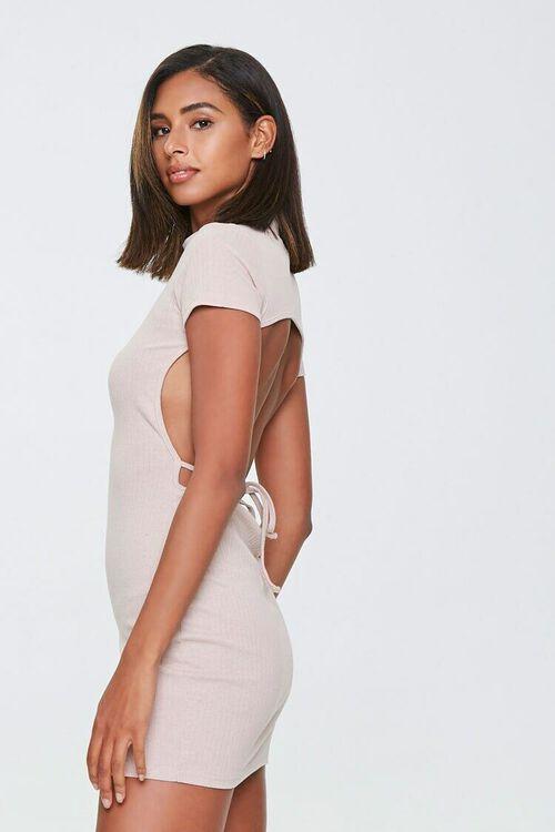 TAUPE Ribbed Open-Back Mini Dress, image 2