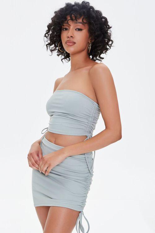 Ruched Drawstring Mini Skirt, image 1