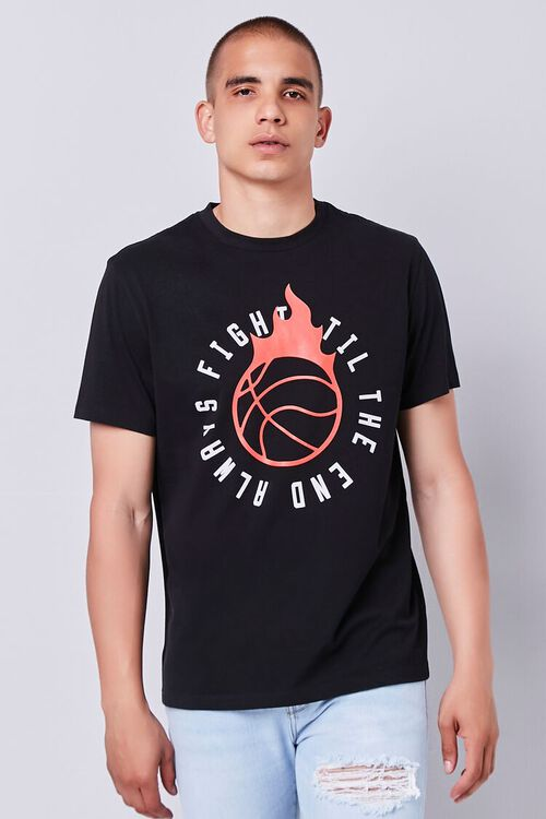 BLACK/RED Organically Grown Cotton Graphic Tee, image 1