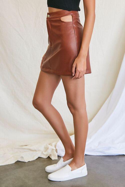 CHOCOLATE Faux Leather Cutout Mini Skirt, image 3