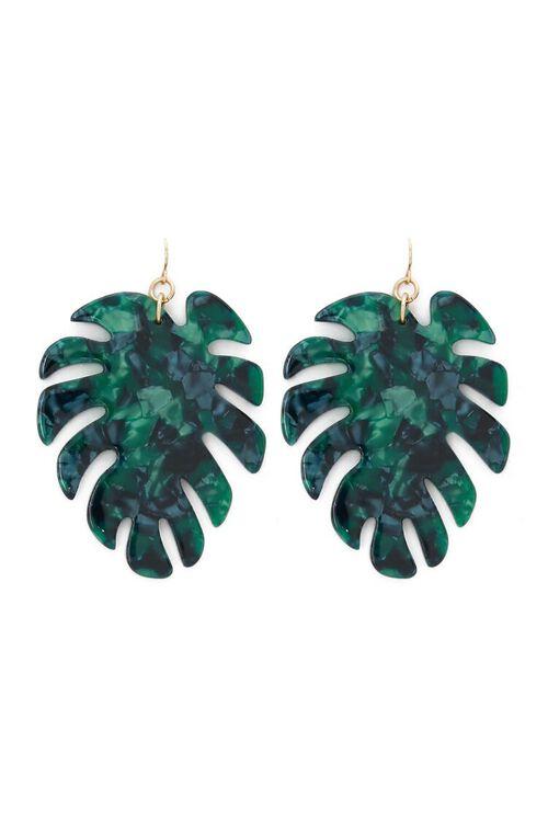 GREEN Faux Stone Palm Leaf Drop Earrings, image 1