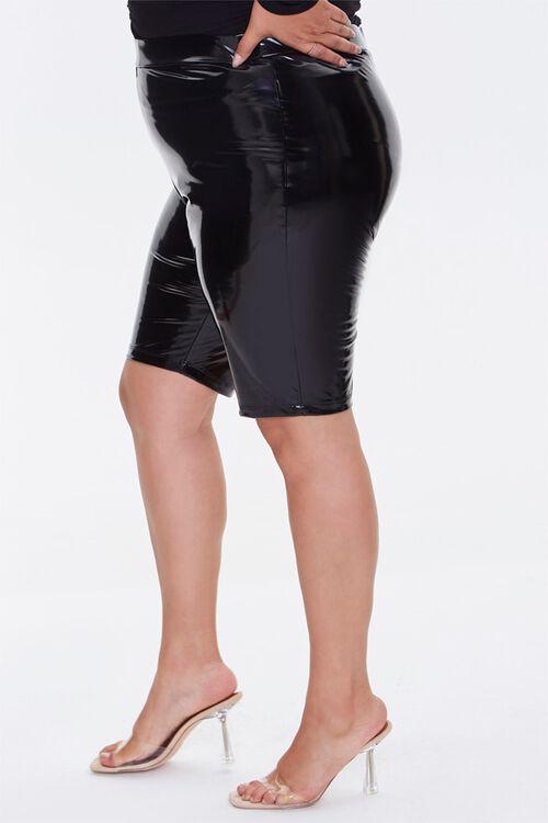 Plus Size Faux Patent Biker Shorts, image 3