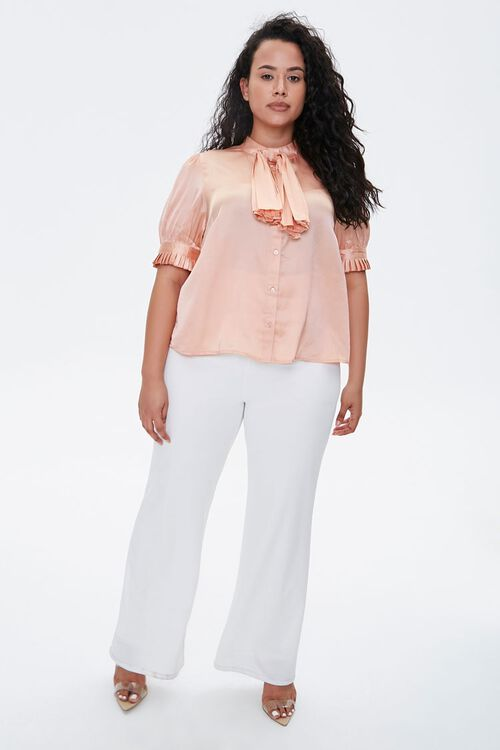 ROSE GOLD Plus Size Satin Bow-Neck Top, image 4