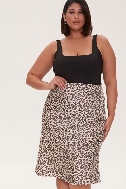 Plus Size Satin Leopard Print Skirt, image 1