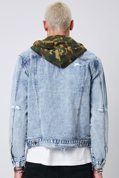 Camo Hooded Sunbleached Denim Jacket, image 3