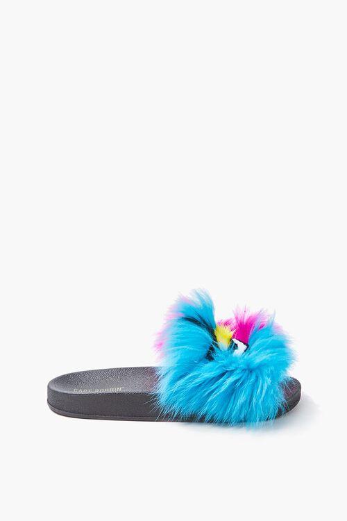 Faux Fur Face Graphic Slide Sandals, image 2