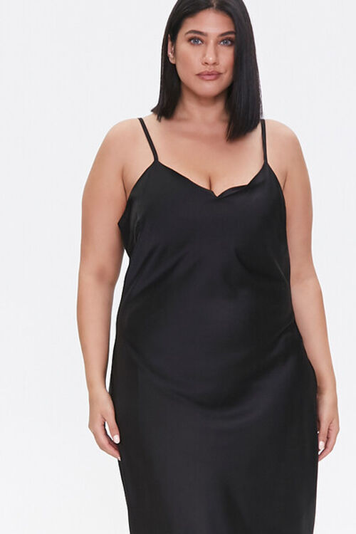 Plus Size Satin Midi Slip Dress, image 5