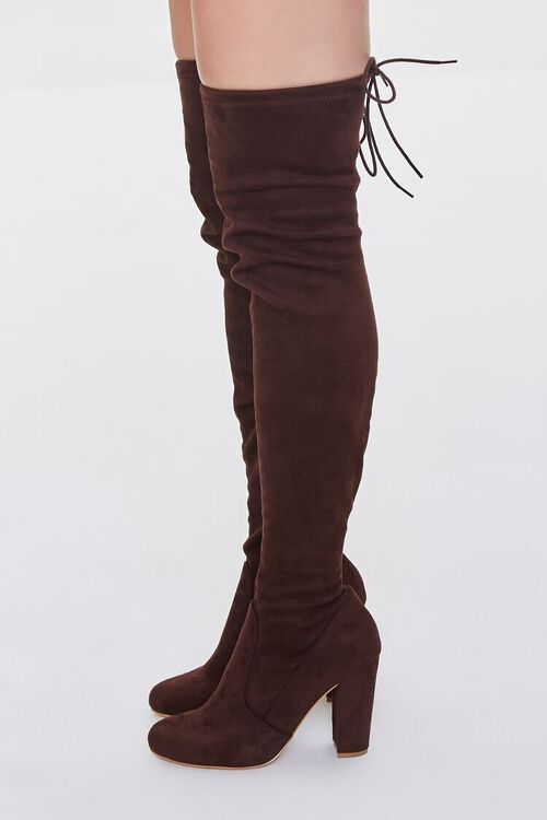 BROWN Faux Suede Over-the-Knee Boots, image 2