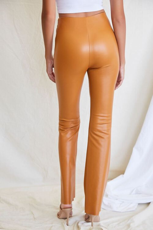 CAMEL Faux Leather Flare Pants, image 4