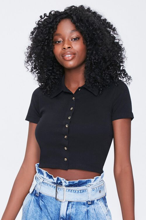 BLACK Button-Front Cropped Shirt, image 1