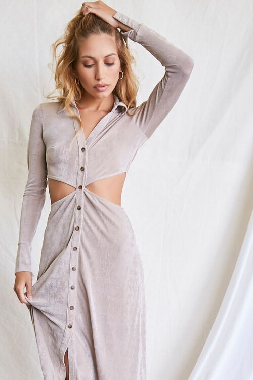 OYSTER GREY Button-Front Cutout Dress, image 4