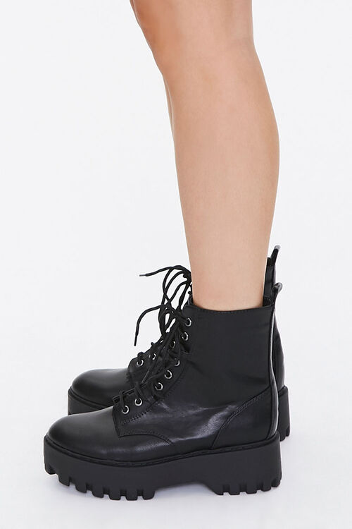 Faux Leather Lace-Up Platform Boots, image 2