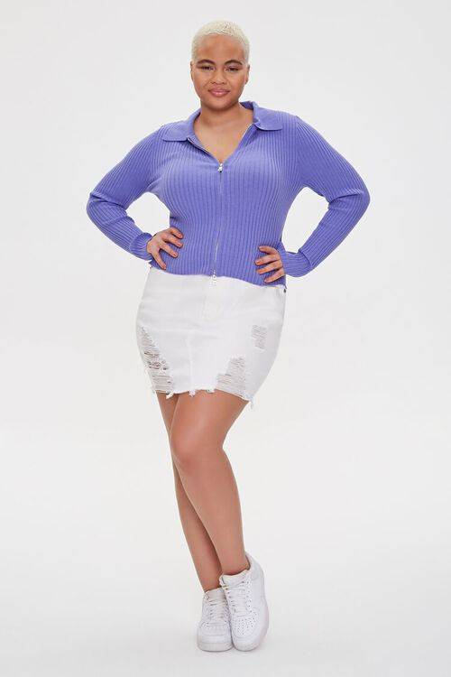 Plus Size Collared Zip-Up Cardigan, image 4