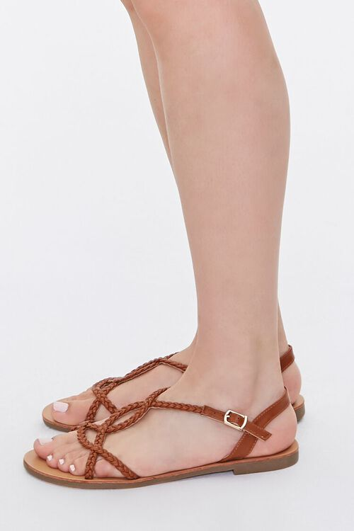 TAN Braided Faux Leather Sandals, image 2