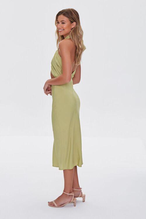 LIGHT OLIVE Crossover Halter Dress, image 3
