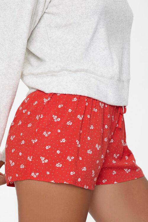 RED/WHITE Polka Dot Drawstring Lounge Shorts, image 3