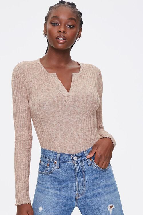 Ribbed Knit Long-Sleeve Bodysuit, image 1