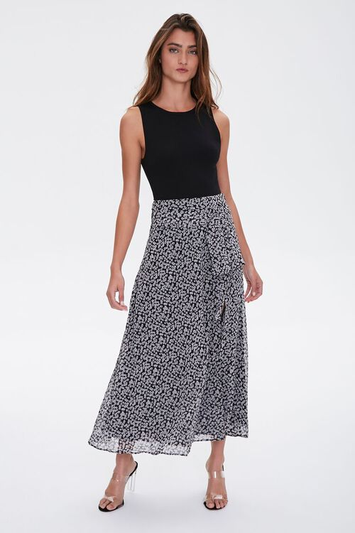 Floral Tie-Waist Midi Skirt, image 4
