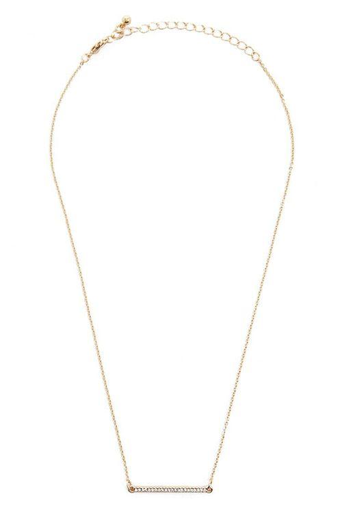 Rhinestone Bar Pendant Necklace, image 2