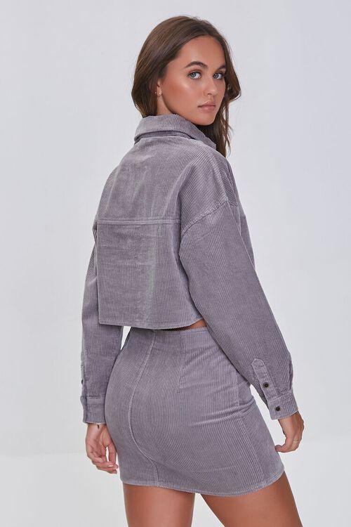 GREY Corduroy Shirt & Mini Skirt Set, image 3