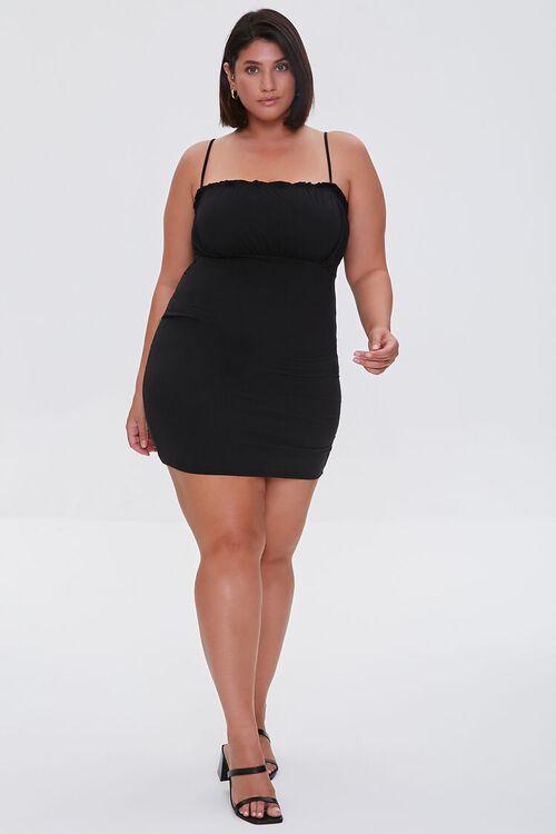 BLACK Plus Size Ruched Cami Dress, image 4