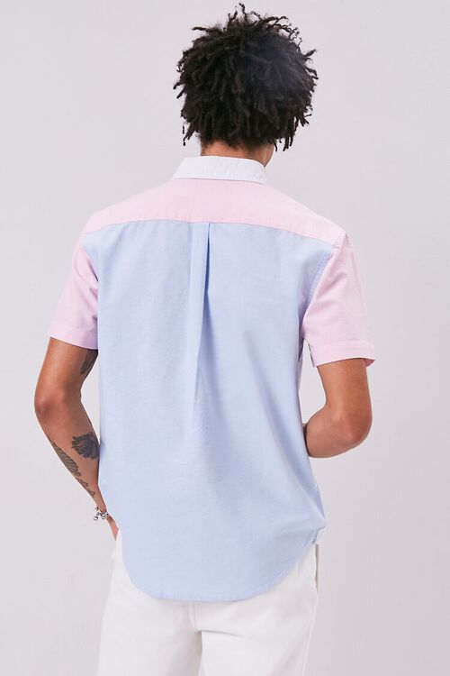 WHITE/BLUE Colorblock Fitted Pocket Shirt, image 3