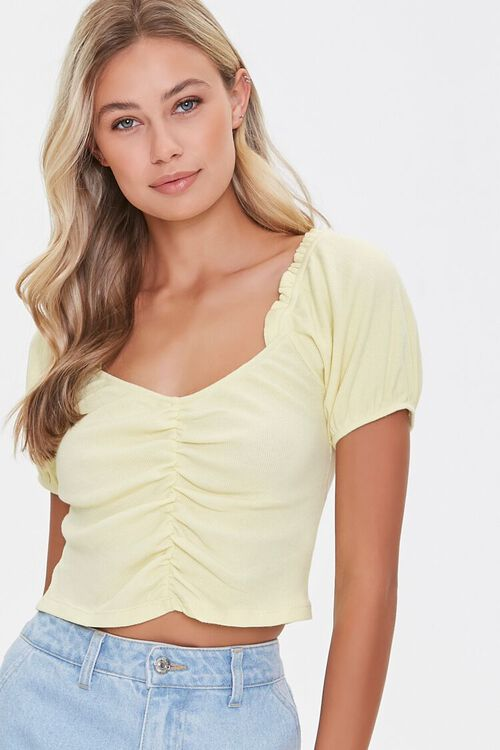 Ruched Puff-Sleeve Top, image 1
