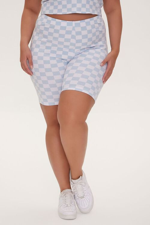 Plus Size Checkered Print Biker Shorts, image 2
