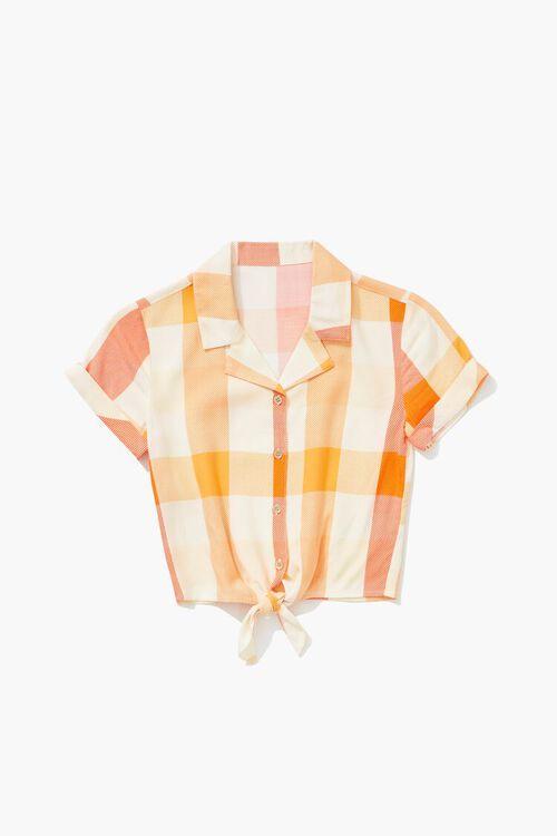 Girls Knotted Plaid Shirt (Kids), image 1