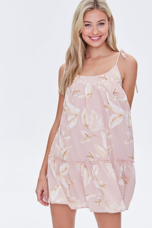 Leaf Print Mini Dress, image 1