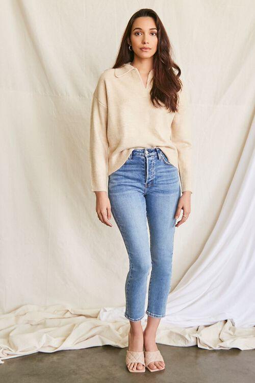 OATMEAL Brushed Split-Neck Sweater, image 4