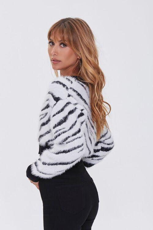 WHITE/BLACK Fuzzy Knit Zebra Cardigan Sweater, image 2