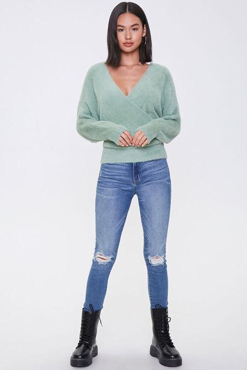 Fuzzy Knit Tie-Back Sweater, image 4