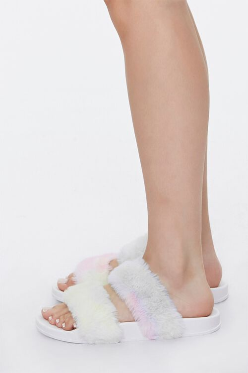 Faux Fur Rainbow Wash Slippers, image 2