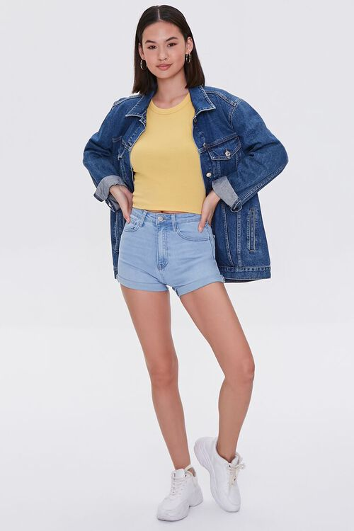 Denim Curvy Shorts, image 5