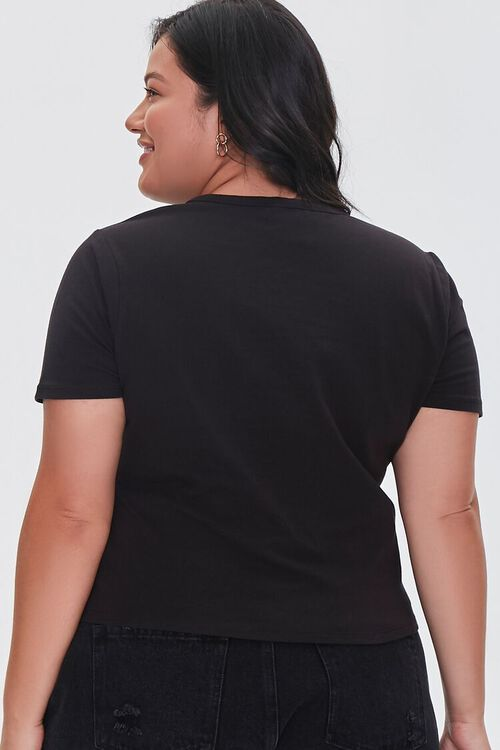 Plus Size Peace Sign Cropped Tee, image 3