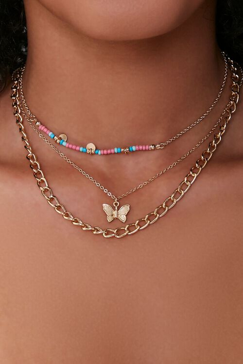 GOLD Butterfly Pendant Choker Necklace Set, image 1