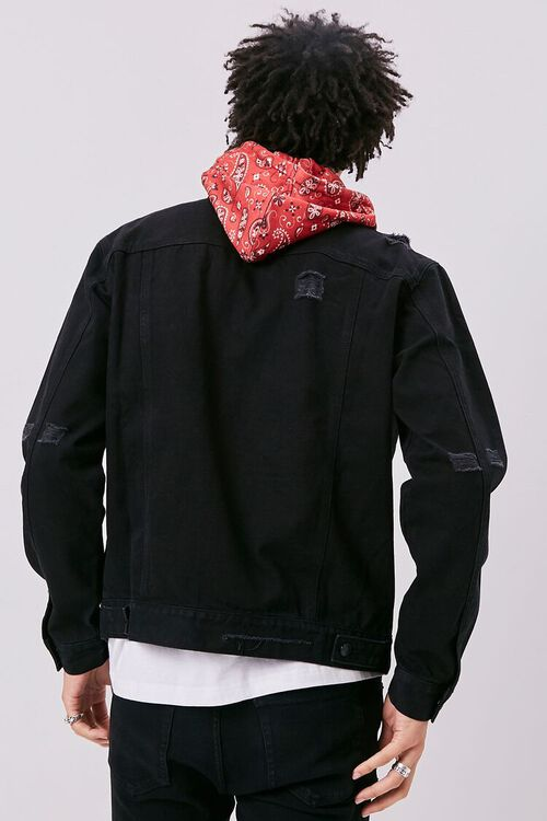 Bandana Print Hooded Denim Jacket, image 3