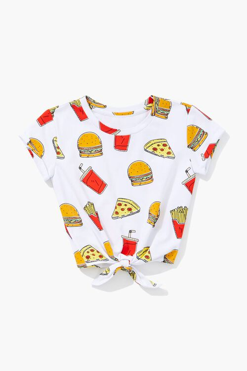 Girls Food Print Knotted Tee (Kids), image 1