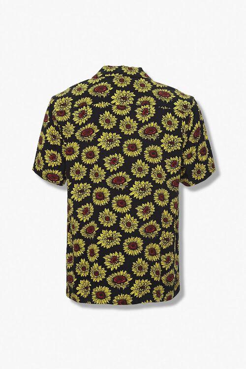 BLACK/YELLOW Sunflower Print Classic Fit Shirt, image 2