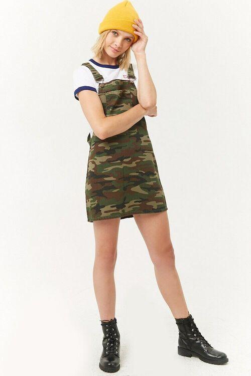 Camo Denim Overall Mini Dress, image 4