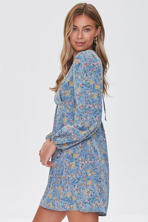 BLUE/MULTI Floral Print Mini Dress, image 2