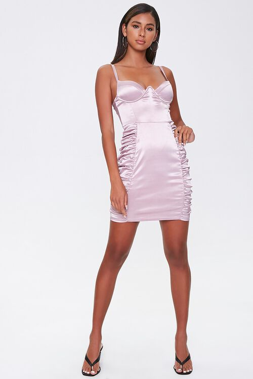 Ruched Satin Bodycon Dress, image 4