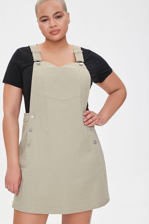 Plus Size Denim Overall Dress, image 1
