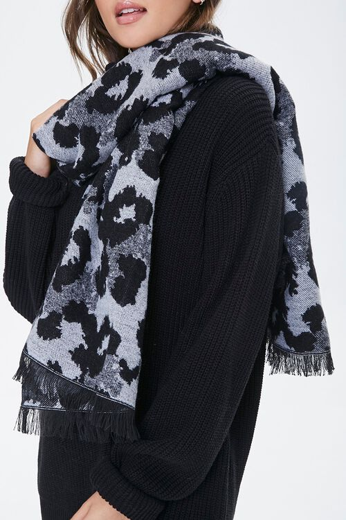 BLACK/WHITE Leopard Print Oblong Scarf, image 1
