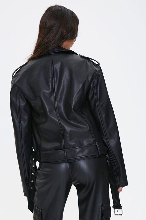Faux Leather Belted Moto Jacket, image 3